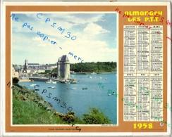 CALENDRIER GF 1958 - Tour Solidor à Saint Servan Et Place Du Village à Boersch (bas-Rhin); Imprimeur Oberthur - Calendriers