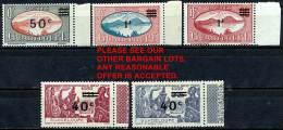 GUADELOUPE 1943 OVERPRINTS  SC#159-63 SCARCE MNH CV$13.00 Costumes, VOLCANOS - Volcanos