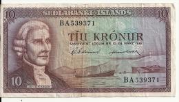 ISLANDE 10 KRONUR 1961 VG+ P 42 - Iceland