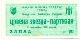 Sport Match Ticket (Football / Soccer) - Red Star Belgrade Vs Partizan Belgrade: Yugoslavian Championship 1975-09-07 - Tickets & Toegangskaarten