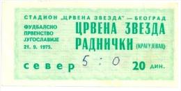 Sport Match Ticket (Football / Soccer) - Red Star Belgrade Vs Radnicki Kragujevac: Yugoslavian Championship 1975-09-21 - Match Tickets