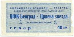 Sport Match Ticket (Football / Soccer) - OFK Belgrade Vs Red Star Belgrade: Yugoslavian Championship 1975-10-26 - Match Tickets