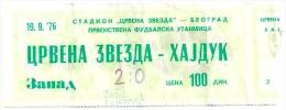 Sport Match Ticket (Football / Soccer) - Red Star Belgrade Vs Hajduk Split: Yugoslavian Championship 1976-09-19 - Match Tickets