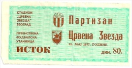 Sport Match Ticket (Football / Soccer) - Partizan Belgrade Vs Red Star Belgrade: Yugoslavian Championship 1977-05-22 - Match Tickets