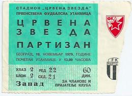 Sport Match Ticket (Football / Soccer) - Red Star Belgrade Vs Partizan Belgrade: Yugoslavian Championship 1979-11-18 - Tickets & Toegangskaarten