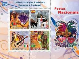 gb8313a Guinea Bissau 2008 National festivals UPAEP s/s Flag Music Ox