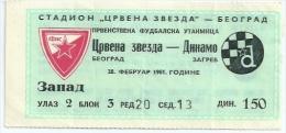 Sport Match Ticket (Football / Soccer) - Red Star Belgrade Vs Dinamo Zagreb: Yugoslavian Championship 1981-02-28 - Match Tickets