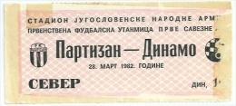 Sport Match Ticket (Football / Soccer) - Partizan Belgrade Vs Dinamo Zagreb: Yugoslavian Championship 1982-03-28 - Match Tickets