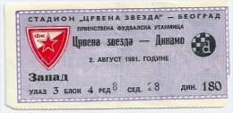 Sport Match Ticket (Football / Soccer) - Red Star Belgrade Vs Dinamo Zagreb: Yugoslavian Championship 1981-08-02 - Match Tickets