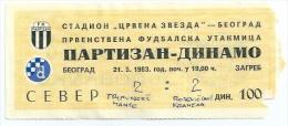 Sport Match Ticket (Football / Soccer) - Partizan Belgrade Vs Dinamo Zagreb: Yugoslavian Championship 1983-05-21 - Tickets & Toegangskaarten