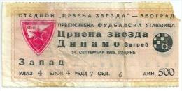 Sport Match Ticket (Football / Soccer) - Red Star Belgrade Vs Dinamo Zagreb: Yugoslavian Championship 1985-09-14 - Match Tickets