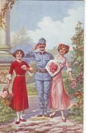 #1894 Military Mailed Postcard  1917: WW1, A Happy Soldier, By Jos.Hart - Pittura & Quadri