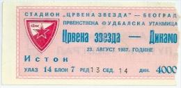 Sport Match Ticket (Football / Soccer) - Red Star Belgrade Vs Dinamo Zagreb: Yugoslavian Championship 1987-08-23 - Match Tickets