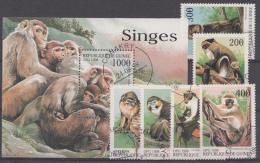 Singes Apen Serie+block Guinée 1998 Oblitéré - Used - Gebruikt - Apen