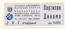 Sport Match Ticket (Football / Soccer) - Partizan Belgrade Vs Dinamo Zagreb: Yugoslavian Championship 1988-08-28 - Match Tickets
