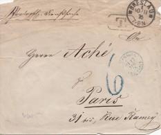 1876, Lettre, Poland, BRESLAU, PARIS, Verso Cachet +++ KONIGE PREUSS POLIZEI PR PRESIDENT VON BRESLAU,Taxe / 732 - 1849-1876: Klassik
