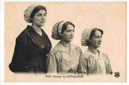 """FOLKLORE CATALAN FEMMES :  """" Groupe De Catalanes """" - Coiffure Chapeau Broderie - France"""