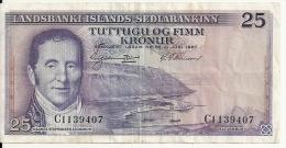 ISLANDE 25 KRONUR 1957 VF P 39 - Iceland