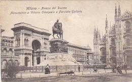 Italy Milano Piazza del Duomo Monumento a Vottorio Emanuele e Fa