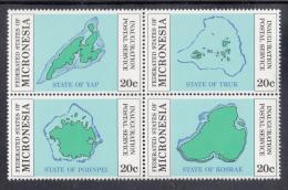 Micronesia MNH Scott #4a Block Of 4 20c Maps Of Islands - Inauguration Of Postal Service - Micronésie