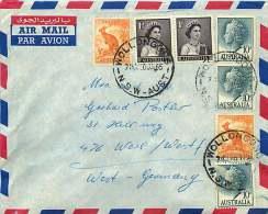 1965  Air Letter To Germany  Qn Elizabeth 10d. X3, 1d. X2, Kangaroo ½d X2 - Briefe U. Dokumente