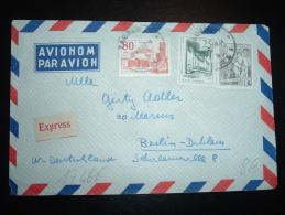 LETTRE PAR AVION EXPRESS  POUR ALLEMAGNE TP 1D + 80 + 25 OBL. 16 XII 59 ZAGREB - 1945-1992 Socialistische Federale Republiek Joegoslavië