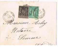 SC - Lettre De  Montargis  Pour Semur-en-Auxois - 1893 - Timbre à Date Type II - 2 Timbres 10c Et 5 C Type SAGE, Dentelé - Marcophilie (Lettres)