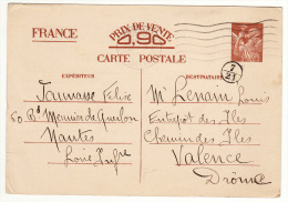 Carte Postale Pré Timbrée Cachet Nantes 1940 Prix De Vente 0,90 - 1939-45