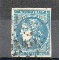 FRANCE   20 C   Année 1870   Y&T: 45B     Emission De Bordeaux  Timbre Avec Trou  ( Oblitéré) - 1870 Emission De Bordeaux