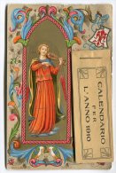 CARTOLINA CON CALENDARIO BEATO ANGELICO ANNO 1910 CALENDRIER - Formato Piccolo : 1901-20
