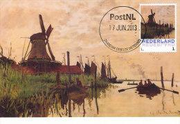 D14630 CARTE MAXIMUM CARD 2013 NETHERLANDS - CLAUDE MONET - WINDMILL AT ZAANDAM !! PLEASE READ !! - Impressionisme
