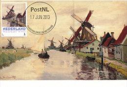 D14632 CARTE MAXIMUM CARD 2013 NETHERLANDS - CLAUDE MONET - WINDMILLS AT ZAANDAM !! PLEASE READ !! - Impressionisme