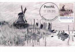 D14637 CARTE MAXIMUM CARD 2013 NETHERLANDS - CLAUDE MONET - WINDMILL AT ZAANDAM - BLACK CRAYON !! PLEASE READ !! - Impressionisme