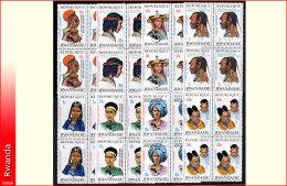 Rwanda 0553/60** x4  Coiffes surcharg�es  MNH