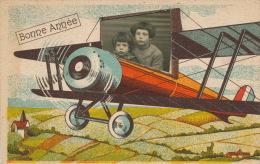 """ENFANTS - LITTLE GIRL - MAEDCHEN - Jolie Carte Fantaisie Photo Montage Portrait Fillettes Dans Avion De """"Bonne Année"""" - Año Nuevo"""