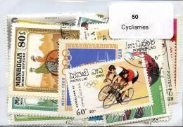 Lot 50 Timbres Thème Cyclismes - Vrac (max 999 Timbres)