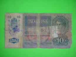 Austria-Hungary Monarchy,zehn Kronen,10 Tiz Korona,1915.,seal,stamp,banknote,bill,paper Money,geld,vintage - Oesterreich