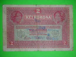 R!,Austria-Hungary Monarchy,zwei Kronen,2 Ket Korona,1917.,seal,stamp,banknote,bill,paper Money,geld - Autriche