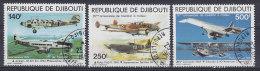 Djibouti 1979 Mi. 248-50 Jahrestag Des 1.Motorfluges Junkers, Dewotine, Potez, Spitfire, Concorde, Sikorsky Complete Set - Dschibuti (1977-...)