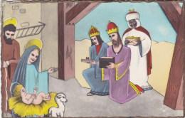 CARTE POSTALE ILLUSTRATION CRECHE NOEL JESUS ROI MAGE BEAU VISUEL A VOIR 1960 - Jesus