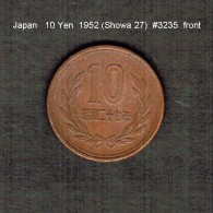 JAPAN    10  YEN  1952  (Hirohito 27---Showa Period)  (Y # 73) - Japan