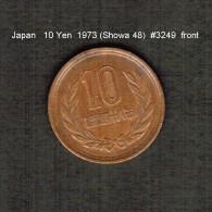 JAPAN    10  YEN  1973  (Hirohito 48---Showa Period)  (Y # 73a) - Japan