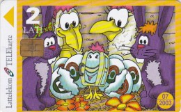 Latvia, D-074, The Strange Easter Chicken, 2 Scans. - Latvia