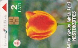 Latvia, D-101, Tulip, Flower, 2 Scans. - Latvia