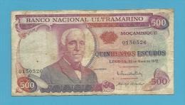 MOZAMBIQUE - 500 ESCUDOS - 23.05.1972 - P 114 - GAGO COUTINHO E SACADURA CABRAL - Mozambique