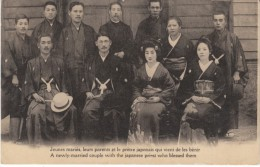 Paris France, Newly Married Japanese Couple With Japanese Priest, Wedding Party, C1910s Vintage French Postcard - Marriages