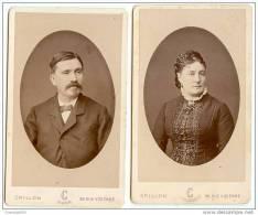 2 CDV Couple-PARIS Vers 1880-bel état-photo Crillon, Tony Rouge 30 Rue Vivienne - Photographs