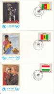 United Nation New York Set Of 16 Unaddressed FDCs 1980 Flag Series Scott #325-#340 - Enveloppes