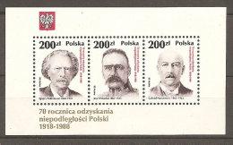 Pologne  Poland Polen Polska  BF** MNH   N° YT 117  70 ème Anniversaire Indépendance Paderewski Pianiste ,Pilsudski - Blocs & Feuillets