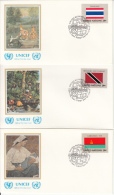 United Nation New York Set Of 16 Unaddressed FDCs 1981 Flag Series Scott #350-#365 - Enveloppes